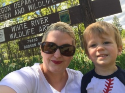 Mommy and son date out to the Mt. Hood forest
